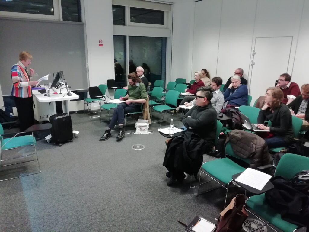 Photo of seminar in progress, Cambridge 2019